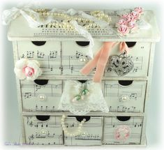 Tara's Card Studio - 2Kaisercraft Box Feb 2013 Img 2 - Ikea office organizer with old music mod podged on into it. Cute!