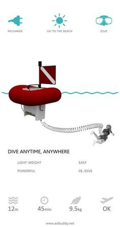 Easy and free shallow water diving with AirBuddy. AirBuddy is an electric, surface supplied diving equipment. Also known as hookah or SSBA. Unlike SCUBA, AirBuddy does not require any air tanks and other bulky gear such as BCD (buoyancy control device). w