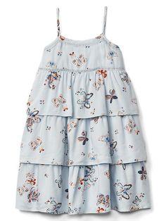 Baby Kids Summer Double Decker Girls Strap Dress Blue Striped Lace Floral