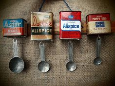 Vintage Spice Tins Measuring Spoon Holder- Not worth the $50 on Esty but easy enough to make my own to go above the pantry door.