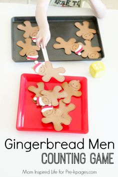This gingerbread man counting game is a fun way for kids to practice counting and subitizing; for preschool, pre-k, and kindergarten. Gingerbread Games, Pre K Activities, Christmas Activities, Christmas Crafts, Preschool At Home, Preschool Math, Maths, Kindergarten, Kindergartens