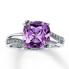 14K White Gold Diamond & Pink Amethyst Ring