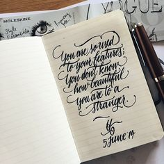 sixtysixvisual:  Today's calligraphy is written on limited edition Moleskine x Vogue ❤️ available at #vogueshop Siam Center  @moleskine_th (at www.facebook.com/sixtysixvisual)