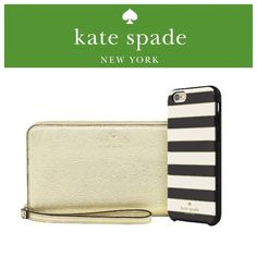 NIB Kate Spade iPhone Bundle Brand new, in box! Kate Spade gold zippered wristlet AND iPhone 6/6s hybrid hardshell case! Wristlet features dedicated compartments for your phone, cash and ID. Wristlet is gold saffiano leather with gold hardware and gold Kate Spade New York logo on the front. (Case is specifically for iPhone 6/6s HOWEVER Wristlet will fit up to iPhone 6/6s PLUS) Comes in an adorable gift box!!! 100% AUTHENTIC GUARANTEED. kate spade Bags Clutches & Wristlets
