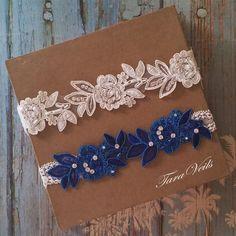 Wedding Garter SetBridal Garter IvoryIvory Royal Blue by taraveils