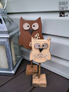 If any of my friends or family wanted to make these for me.I would treasure them always! wooden owls - Crafts All Over Wooden Projects, Wooden Crafts, Craft Projects, Fall Wood Crafts, Wood Owls, Pumpkin Topiary, Owl Crafts, Wood Creations, Wood Art