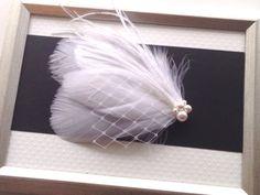White Feather Fascinator, SWAROVSKI Pearl Clip, Bridal Fascinator, Wedding Hair Clip, Feather Clip, Bridal Headpiece, Wedding Hairpiece on Etsy, $36.00 CAD
