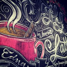 """Fall in love with lattes"" chalk design by Carolina Ro"