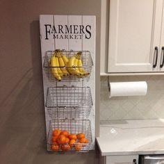 44 Inspiring Design Ideas for Modern Kitchen Cabinets - The Trending House Farmhouse Kitchen Decor, Home Decor Kitchen, Kitchen Furniture, Rustic Furniture, New Kitchen, Kitchen Themes, Fruit Kitchen Decor, Colorful Kitchen Decor, Rustic Kitchens