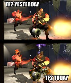 How it feels when an update happens. Tf2 Funny, Stupid Funny Memes, Team Fortress 2, Video Games Funny, Funny Games, Dream Daddy Game, Triple A Games, Monster Hotel, Tf2 Memes