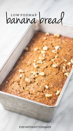 This gluten-free Low FODMAP Banana Bread is a yummy way to use ripe bananas. Just stick to the listed serving size suggestion to keep things low FODMAP. Ic Recipes, Fodmap Recipes, Banana Recipes, Gluten Free Recipes, Snack Recipes, Fodmap Foods, Apple Recipes, Recipes Dinner, Drink Recipes
