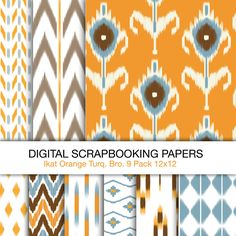 Digital Scrapbooking Papers. Ikat Patterns. 12x12. Digital backgrounds and Collage Sheets for Personal and Limited Commercial Use.. $6.00, via Etsy.