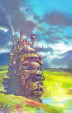 Howl's Moving Castle - Some of the most beautiful artwork around are from Miyazaki films Hayao Miyazaki, Studio Ghibli Films, Art Studio Ghibli, Totoro, Pretty Cure, Iphone Hintegründe, Castle In The Sky, Animation, Anime Scenery