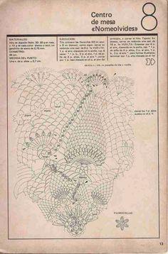"""Patrón #378: Centro de mesa """"Nomeolvides"""" a Crochet ~ CTejidas [Crochet y Dos Agujas]"""