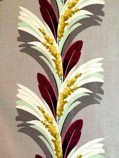 Magnificent Miami Beach Art Deco Geometric Barkcloth Fabric// Saison Stylized Leaves and Berries// Cotton Yardage// Upholstery// Drapery
