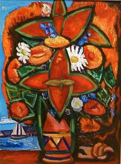 Marsden Hartley:  Red Flowers and Sailboat,  1935-1936