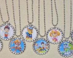 """Set of 8- """"PAW PATROL"""" Flat Bottlecap NECKLACES! Great for birthday party favors.8 ball chain necklaces included! Fast shipping!!"""