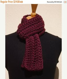 HOLIDAY SALE Purple ScarfCrochet ScarfWomens by CabinByThePines