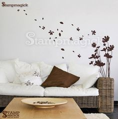 Blowing Flowers Wall Decal Sticker for Nursery, Kids Room, or Home. Wall art decal a bouquet of flowers with flying petals. Great for children's rooms, playroom, nursery, or home!  Design K081 - Blowing Flowers Wall Decal  ♥ PRODUCT - DIMENSIONS ♥ Branches: (approx.) 18w x 30h Whole scene: (approx.) 66w x 49h Please refer to picture for detailed dimensions.  ♥ DECAL - MATERIALS ♥ We use high-quality commercial-grade removable wall decal which creates a beautiful paint-like look on your wall…