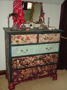 Gorgeous Fabric Decoupage Drawers