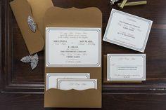 Art deco pocket wedding invitation with gorgeous rhinestone embellishment