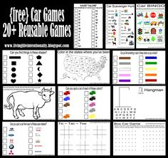 worksheets for kids - printable car games