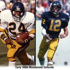 #WVU uniforms in the early 1980s...pictured here are Pat Randolph (24) and Oliver Luck (12)