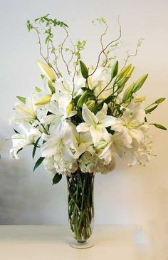 Send White Casablanca in Athens, TN from Goins Creations - Athens Flower Shop, the best florist in Athens. All flowers are hand delivered and same day delivery may be available. Winter Floral Arrangements, Unique Flower Arrangements, Flower Vases, Faux Flowers, Pretty Flowers, Silk Flowers, Flowers Garden, Casablanca, Memorial Flowers