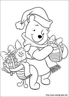 Pooh Bear and Piglet colouring page
