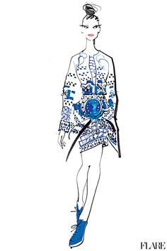 Mary Katrantzou - September 2012 / Illustration by Jacqueline Bissett  30 Days of Fall: Everything you need to know about the new season in one place.