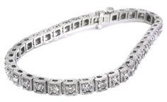 Diamond tennis bracelet set with 3.00ct total weight of diamonds in a 14k white gold setting | #diamond #April #birthstone