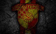 Scarica sfondi Göztepe, logo, l'arte, la Super Lig, il calcio, il football club, grunge, Göztepe FC