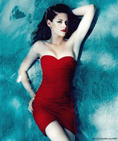 Kristen Stewart by Norman Jean Roy -  Love this look! That red dress is Hot! Love the whole Vampy look!
