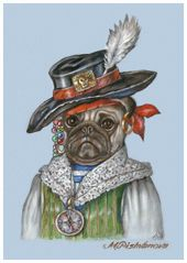 Pug. The Pirate | Dog Portraits at Animal Century | Art Collection