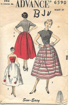 Advance 6590 Sewing Pattern, 1950s Full Skirt , offered on Etsy by GrandmaMadeWithLove