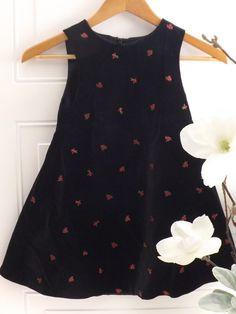 #girlsdresses Girls, Gymboree Black Velvet Dress w/Cherry Designs Sz. 6 #Gymboree