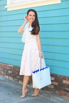 StylishPetite.com | Easter Outfit Ideas: Pink Lace Midi Skirt, Bows and Scalloped Tote