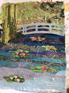 Machine embroidery interpretation of Monets Garden