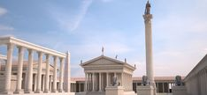 I believe this is a rendering of the Serapaeum of Alexandria. Ancient Roman Houses, Ancient Greek Architecture, Ancient Romans, Roman Empire, Ancient History, Cn Tower, Egypt, Building, Travel