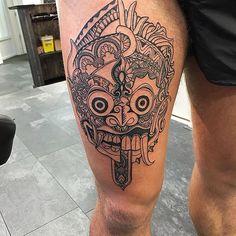 BALINESE BARONG MASK! #nito_ink. @nito_inkshop . #balinese #balinesemask #barong #barongmask #barongtattoo #legtattoo #manwithtattoos #ink #inked #indonesia #mask #schaepmanstraat21d #spangen #rotterdam #nofilter #strakiets #linework #mandala #mandalatattoo #mandalaworld Leg Tattoo Men, Arm Tattoos, Life Tattoos, Alien Tattoo, Mask Tattoo, Man With Tattoos, Tattoos For Guys, Mandala Tattoo Design, Tattoo Designs