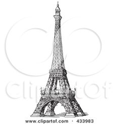 Royalty-Free (RF) Clipart Illustration of a Vintage Black And White Sketch Of The Eiffel Tower - 1 by BestVector