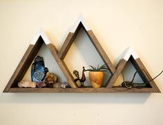 Mountain Shelf with Painted Caps Modern Wooden Shelving Unit Easy Mount Wall Art. - Mountain Shelf with Painted Caps Modern Wooden Shelving Unit Easy Mount Wall Art Cabin Decor - Mountain Shelf, Mountain Decor, Mountain Cabins, Western Decor, Rustic Decor, Wooden Decor, Rustic Wood, Wooden Shelving Units, Diy Wooden Shelves