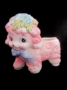 RUBENS Vintage Baby Planter Lamb Sheep Pink Blue Bow Tie Infant Made in Japan. $24.99, via Etsy.