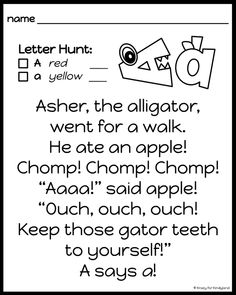 Phonics Lessons, Writing Lessons, Science Lessons, Alphabet Poem, Alphabet Activities, Alphabet Crafts, Kindergarten Songs, Bilingual Kindergarten, Preschool Learning