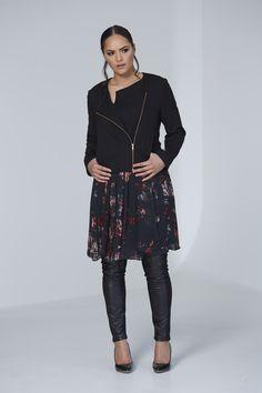 Chocolat 72360 - Ponti Zip Jacket,  72351 - Modern Romance Dress,  72460BM - Leather Panel Pant