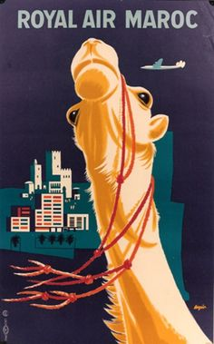 1955 Vintge Travel Poster / Royal Air Maroc by Aeguin