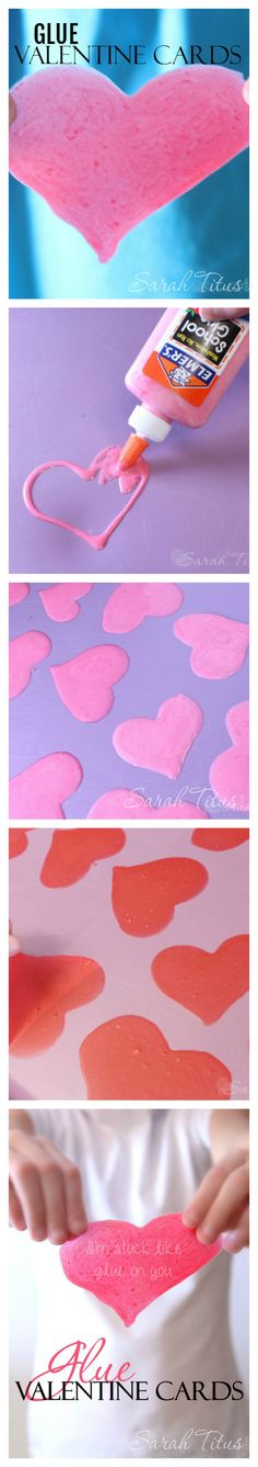 Aren't these DIY Glue Valentine's hearts uber cute? Check out the full tutorial here!