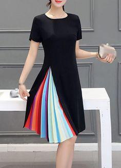 Short Sleeve Zipper Closure Black Dress on sale only US$22.42 now, buy cheap Short Sleeve Zipper Closure Black Dress at lulugal.com