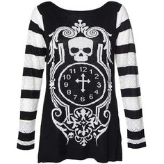 Jawbreaker Skull Clock Jumper (Black/White) ($43) ❤ liked on Polyvore featuring tops, sweaters, skull top, white and black sweater, black and white jumper, black and white tops ve skull print sweater