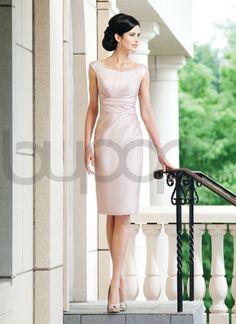 Chiffon Knee-Length Sheath Sleeves Scoop Neckline Mother of The Bride Dress